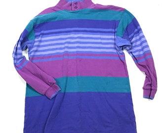Vintage 1990s LL Bean Multi-Color Striped Pastel Mock Turtleneck Shirt Men's M