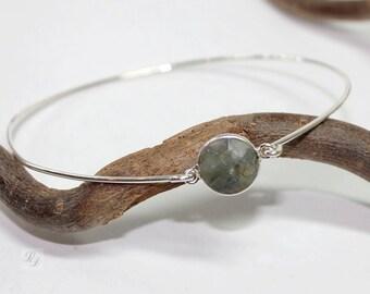 Womans, Sterling silver Labradorite bracelet, boho, Minimalist, artisan, semiprecious, narrow, bangle, gem - free worldwide shipping!