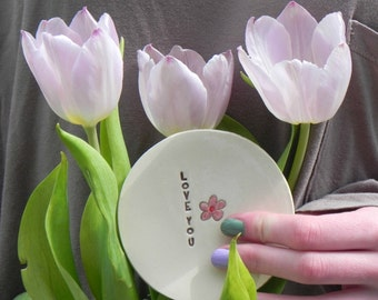 Ceramic Pink Inspirational Flower Plate Love Text Pottery Mother Days Dish