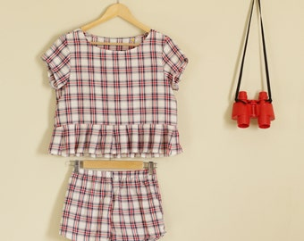 White Blue and Red Tartan Print Twin Set Crop with Frill and Shorts 90s Cute Lolita 60s matching set E