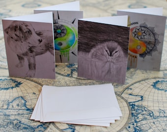 """Assorted Watercolor/Graphite Notecard Set of 40 - 5.5""""x4"""""""