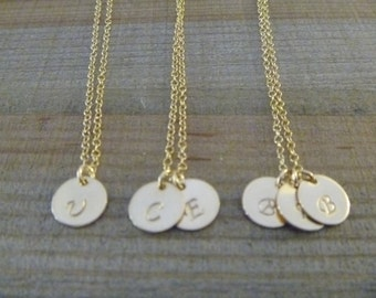 Gold Filled Initial Necklace, Personalized Necklace, Bridesmaid Gift, Bridesmaid Jewelry, 1 2 3  Disc Necklace, sisters necklace for 2 3 4
