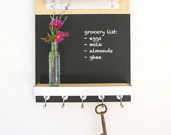 CHALKBOARD MESSAGE CENTER: Modern Organizer Wall Mount iPad Home or Office Organization with Key Hooks and Shelf.