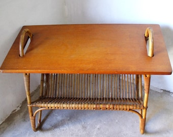 wood tray with rattan table