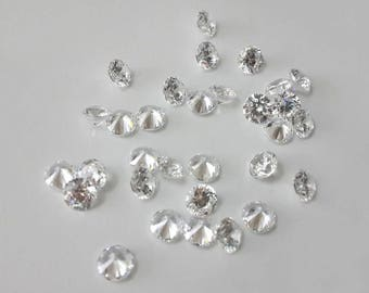 1.0mm round CZ, 20pcs, loose, cubic zirconia, clear cz, melee, diamond cutting, 8 hearts 8 arrows, finest AAA cz, wholesale