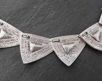 Etched Ethnic Inspirded Silver Statement Necklace - Authentic Turkish Style