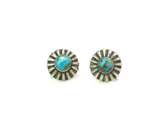 Navajo Turquoise Sterling Silver Radiant Sun Earrings