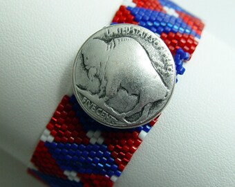Red White and Blue Buffalo Cuff