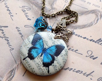 Blue Butterfly Picture Locket, Vintage Style Locket, Brass Locket, Butterfly Necklace,Butterfly Pendant, Photo Locket