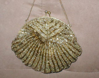 Vintage Bronze Beaded Clamshell Evening Purse
