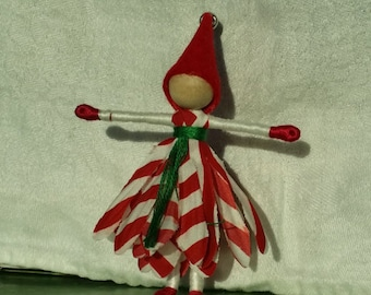 Candy Cane Flower Fairy, Elf, Art Doll, bendy doll, ornament, worry doll