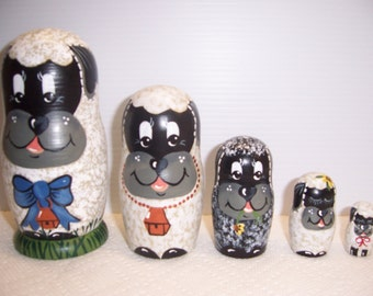 Hand painted Sheep Collection stacking nesting doll set