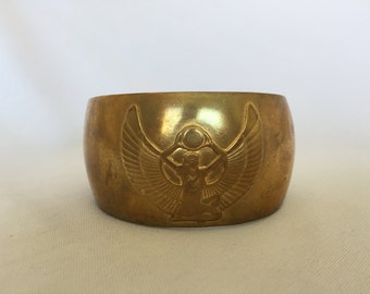 Vintage, Egyptian Revival, Brass Cuff/Bracelet. Embossed with Goddess ISIS