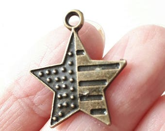 14pcs-Brozne tone USA star stripe charm