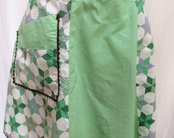 Green and White Handmade Farmhouse Apron, Ric Rac Trim, 1950's-1960's