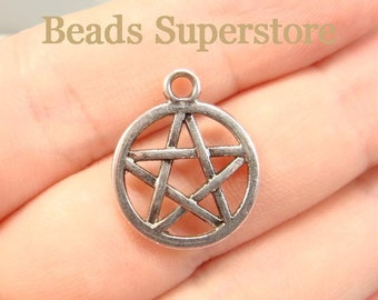 20 mm x 17 mm Antique Silver Two Sided Pentacle Pentagram Charm / Pendant - Nickel Free, Lead Free and Cadmium Free - 8 pcs (CH36)