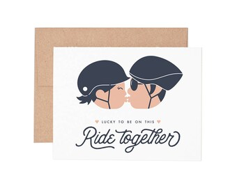Ride Together Letterpress Greeting Card - Blank Card | Love Card | Valentine's Day | Greeting Cards