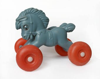 1970s Pull-Along Horse Toy for Toddlers. Grey Red. Early Development Animal Toy/ Nursery Decor