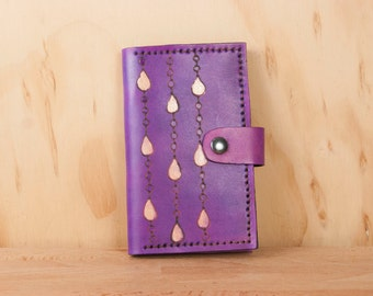 Coin Pocket Wallet - Small Womens Leather Wallet in the Purple Rain pattern - Stylized raindrop wallet in purple and gold