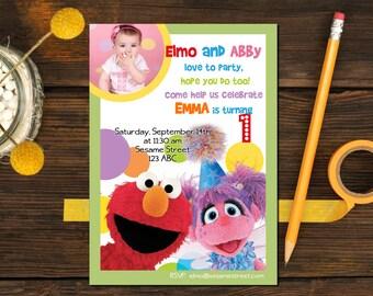 SESAME STREET Invitation - Printable Custom Photo - Elmo and Abby Birthday