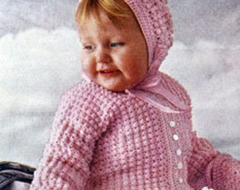Baby CROCHET Pattern PDF  - Baby/Infant Sacque (Jacket) Bonnet and Booties