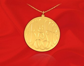 Monogram Necklace - 1 inch 24K Gold Plated Sterling Silver Hand Engraved - Personalized Initial Necklace - Made in USA