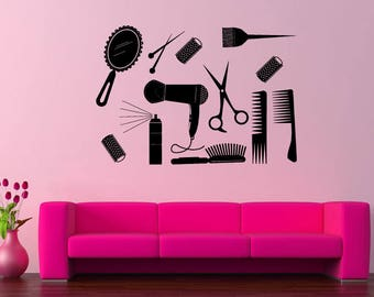 Hair Spray Beauty Spa Hair Brush Blow Dryer Rollers Color Salon Styling Haircut Style DIY Wall Stickers Decals Vinyl Mural Decor Art VG036