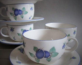 Royal Doulton Everyday Blueberry 4 Cups & Saucers, and Sugar Bowl, Royal Doulton Blueberry China, England.