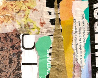 """Montgomery Avenue - Original Collage with Weathered and Hand Drawn and Painted Papers 4 x 4 on 5 x 5"""" Backing"""