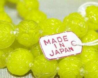 Vintage 1960s Japanese Lemon Yellow Pressed Glass Beads; VGL808