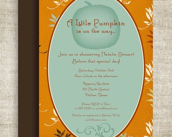 Little Pumpkin Lil' Punkin' BABY SHOWER Invitations Invite Brown Blue Orange Floral Digital diy Printable Personalized - 109174285