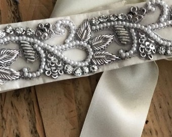 Hand made one of coutute bridal belt / Sash
