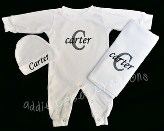 Personalized Baby Sleeper, Beanie Hat, and Burpcloth Combo with Name and Initial / Girl or Boy Colors