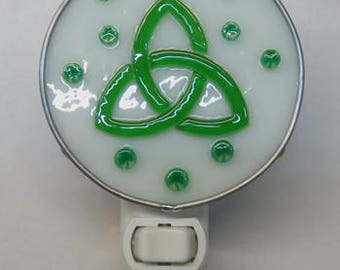 Celtic Knot x2 Night Lights - St. Patrick's Celtic Knot Glass Nightlights - Fused Glass Celtic Knot & Shamrocks Nightlights