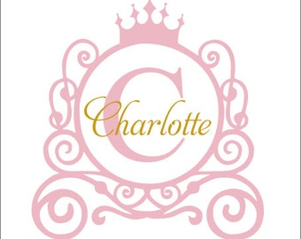 Princess Carriage Monogram Decal Vinyl Decal Wall Decal Princess Wall Decal Girls Nursery Decal Bedroom Decal Personalized Decal Princess