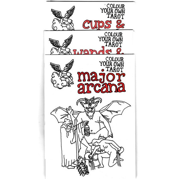 Colour Your Own Tarot zines (multi-pack - Major arcana, Wands and pentacles, Cups and swords)