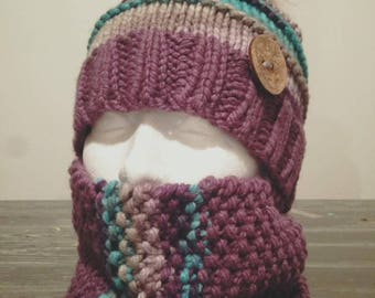 Hat and neck warmer knitting pattern