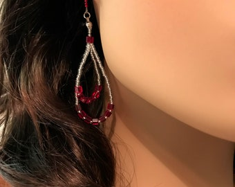 Czech Glass Earrings: Red Cubes and Crystal Seed Beads