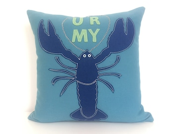 Lobster Love Pillow in Turquoise and Blue