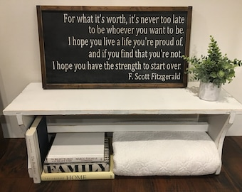 F Scott Fitzgerald quote sign - handmade - homedco 26x14