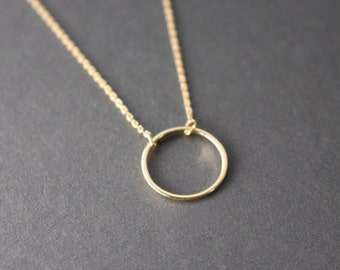 Eternity - Open Circle necklace, Gold circle Necklace, Geometric jewelry, gift, bridesmaid gift