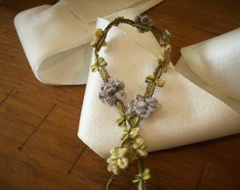 rare antique authentic ribbon work silk /metal Garland
