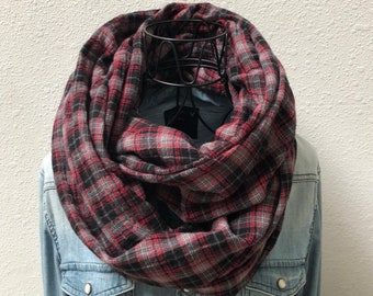 "Plaid ""Spring Chicken"" Cotton Crinkle Handmade Infinity Scarf 