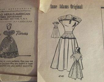 Vintage 1940s Anne Adams Original 4740 Sewing Pattern Dress Mail Order Size 17