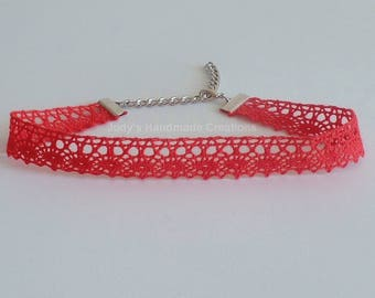 Red Choker, Red Lace Choker, Red Choker Necklace, Ribbon Choker, Boho Choker, Choker Necklace, Women Jewelry, Popular Necklace