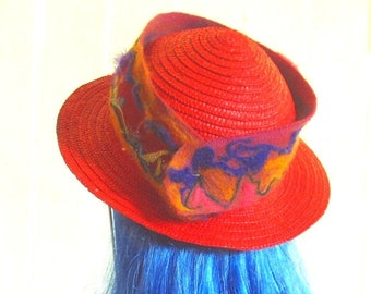 Felted Magenta Hatband Headband with Purple and Tangerine