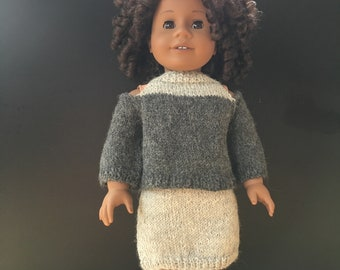 Outfit for 18 inch doll; doll clothes; handmade doll clothes; AG doll clothes; 18 inch doll clothes; knitted doll clothes; handmade clothes