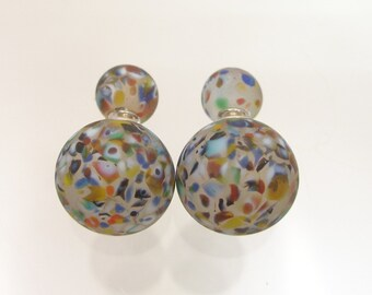 Murano glass double beads earrings, double sided earrings, glass jewelry,surgical steel