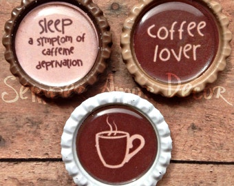 Coffee Decor, Bottle Cap Magnets, Coffee Kitchen Decor, Coffee Decor Kitchen, Coffee Magnet, Bottle Cap Push Pins, Kitchen Push Pins, Office