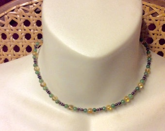 Jade amber and amethyst beads beaded choker collar necklace.
